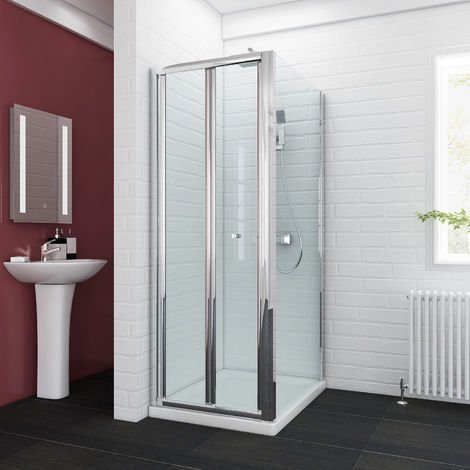 sunny showers 700 x 1000 mm Bifold Glass Shower Enclosure Reversible Folding Cubicle Door with Stone Tray + Waste Set