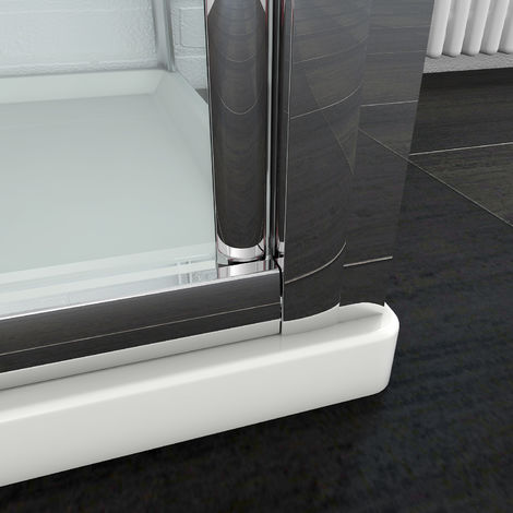 sunny showers 700 x 800 mm Bifold Shower Enclosure Glass Screen Door Cubicle with Side Panel