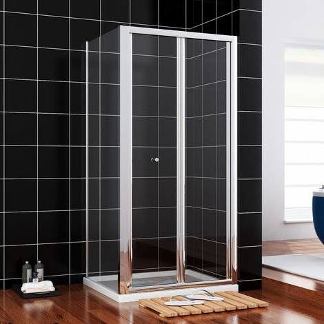 sunny showers 700 x 900 mm Bifold Glass Shower Enclosure Reversible Folding Cubicle Door with Stone Tray + Waste Set