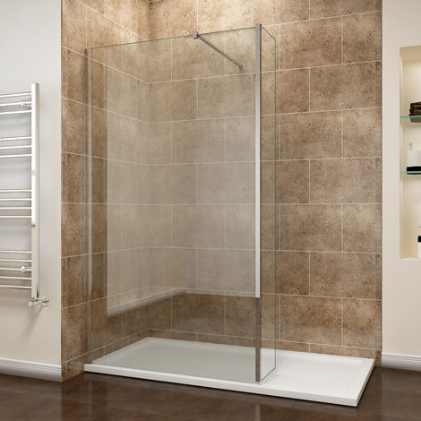 sunny showers 800mm Walk In Wetroom Shower Screen Panel 8mm Easy Clean Glass Shower Enclosure with 300mm Fixed Panel