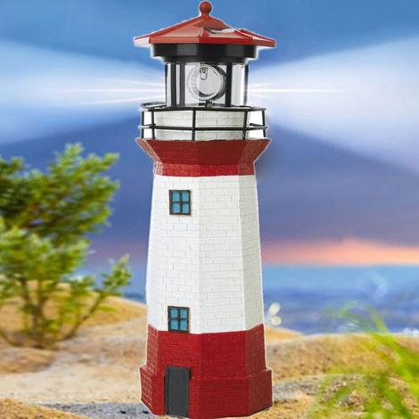 """Sunny Solar Lighthouse Rotating Lighthouse 10.43X3.46 """"Bulb Led Patio Garden Lamp Home Decoration Hasaki"""