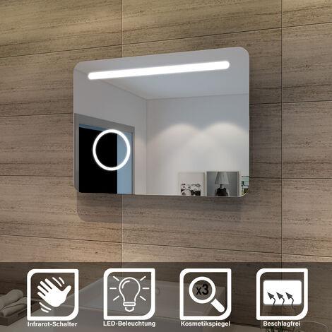 sunnyshowers LED Bad Spiegel 80 x 60cm wandspiegel Badezimmer Lichtspiegel Badspiegel mit Beleuchtung mit Kosmetikspiegel, Sensorschalter