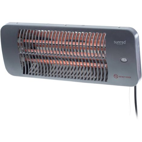 Sunred Calefactor de pared para patio Lugo cuarzo gris 2000 W - Grigio
