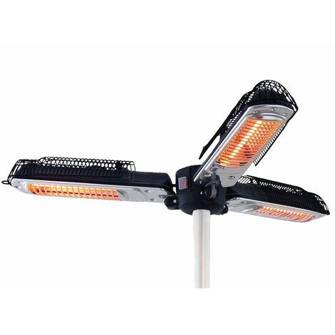 Sunred Chauffage pour parasol 2000 W Halogène Noir et argenté PH10