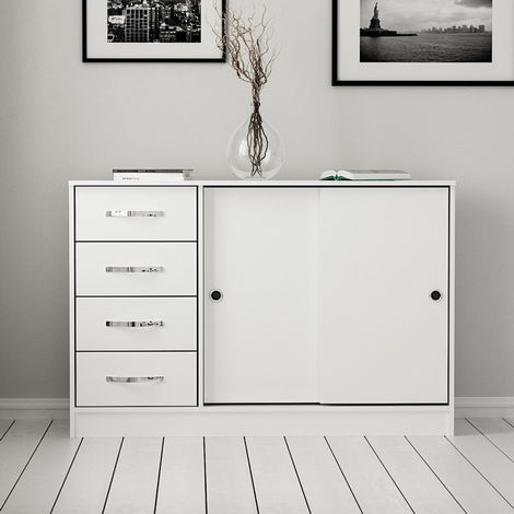 Sunrise Multiuse Cabinet - with Doors, Shelves, Drawers - for Living Room, Hall - White, made in Wood, 110 x 39 x 80 cm