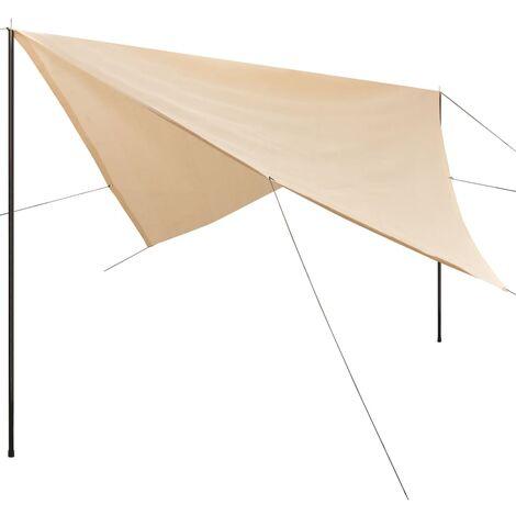 Sunshade Tarp with Poles HDPE Square 3x3 m Cream