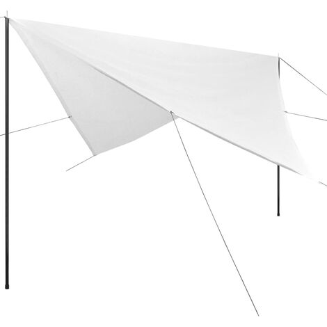 Sunshade Tarp with Poles HDPE Square 5x5 m White