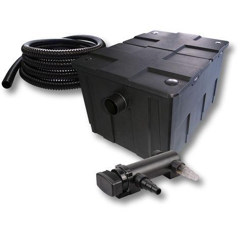 SunSun 1 cámara Filtro para 60.000l estanque estanque con 18W UVC 6 Clarificador y 5 m tubo jardin