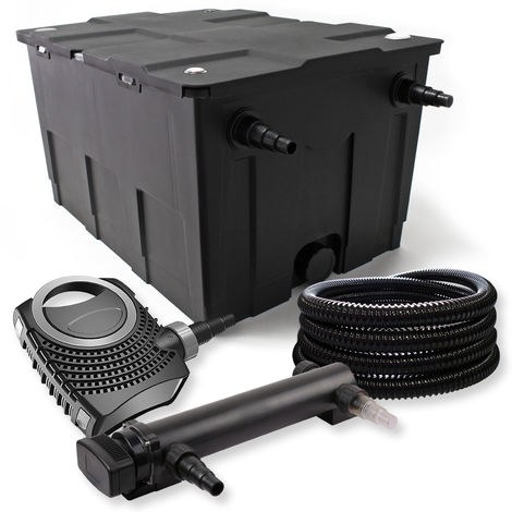 SunSun 1-Kammer Filter Set 60000l mit 18W UVC 3er Teich Klärer NEO7000 50W Pumpe und Schlauch