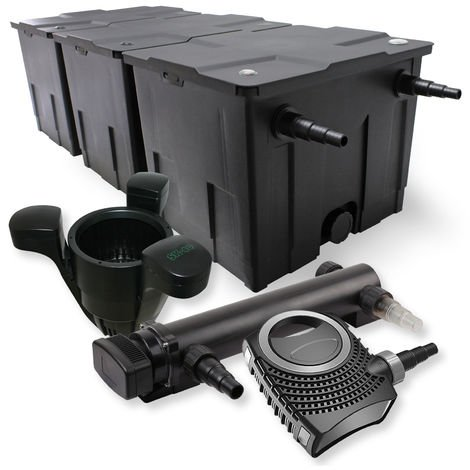 SunSun 3-Cámaras Filtro 90000l 36W UVC 3. Clarificador NEO1000080W bomba skimmer jardin