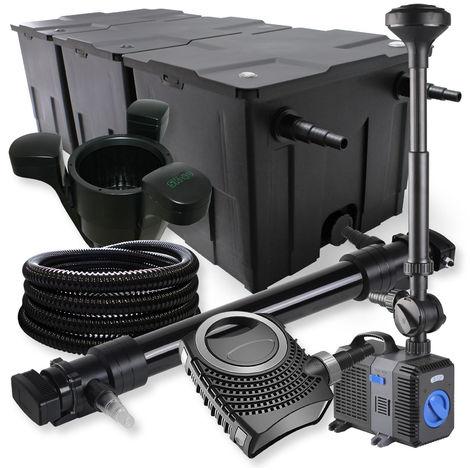 SunSun 3Cámaras Filtro 90000l 72W UVC Clarificador NEO1000080W Bomba tubo fuente Skimmer jardin