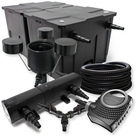 SunSun Filtro Set 60000l Estanque 24W Clarificador NEO10000 80W Bomba 25m Tubo Skimmer