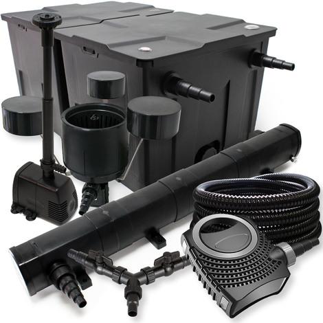 SunSun Filtro Set 60000l Estanque 72W Clarificador NEO10000 80W Bomba 25m Tubo Skimmer Bomba Fuente