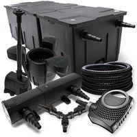 SunSun Filtro Set 90000l Estanque 18W Clarificador NEO10000 25m Tubo Skimmer Bomba Fuente jardin