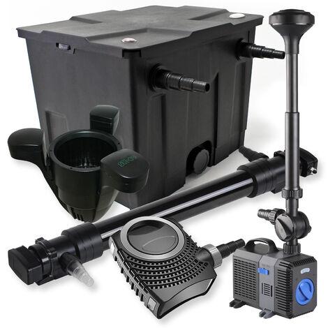 SunSun Kit de filtration de bassin 12000l 72W UVC Stérilisateur 80W Pompe Fontaine Skimmer