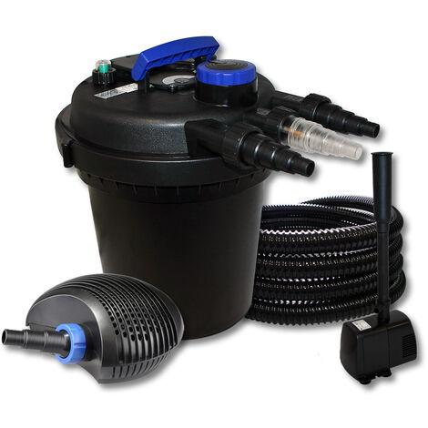 SunSun Kit de filtration de bassin à pression 10000l avec 11W UVC 40W éco Pompe 25m Tuyau Fontaine