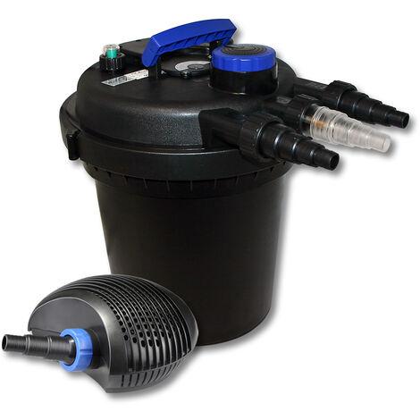 SunSun Kit de filtration de bassin à pression 6000l avec 11W UVC Stérilisateur et 10W éco Pompe