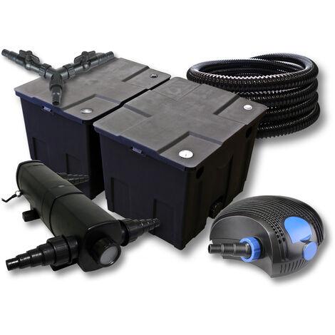 SunSun Kit de filtration de bassin pour 60000l avec 18W Stérilisateur et 100W éco Pompe 25m Tuyau