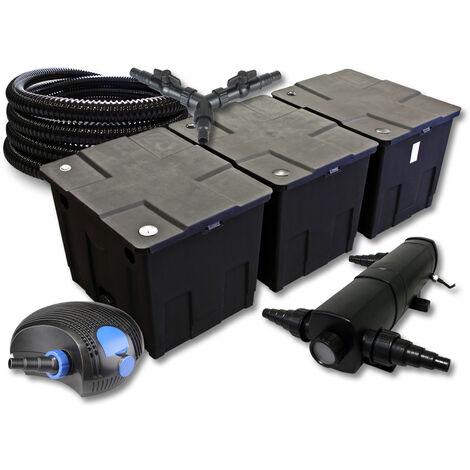 SunSun Kit de filtration de bassin pour 90000l avec 18W Stérilisateur et 100W éco Pompe 25m Tuyau