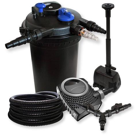 SunSun Kit Filtración estanque presión 30000L 18W UVC neo8000bomba 25m tubo fuente jardin