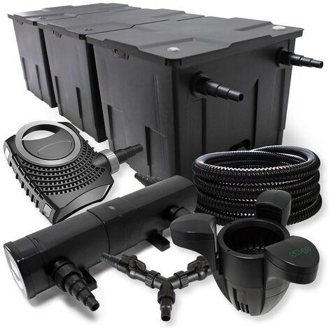 SunSun Kit filtration bassin 90000l 24W Stérilisateur NEO10000 80W Pompe 25m Tuyau Skimmer SK30