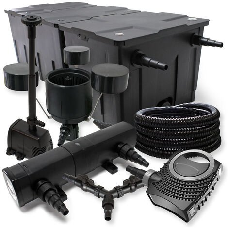SunSun Kit filtration bassin 90000l 36W Stérilisateur NEO10000 80W Pompe 25m Tuyau Skimmer Fontaine