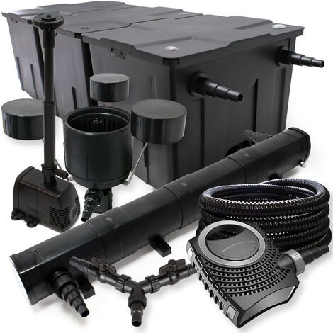 SunSun Kit filtration bassin 90000l 72W Stérilisateur NEO10000 80W Pompe 25m Tuyau Skimmer Fontaine