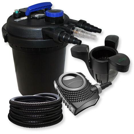 SunSun Kit filtration bassin à pression 6000l 11W UVC NEO8000 70W Pompe 25m Tuyau Skimmer SK30