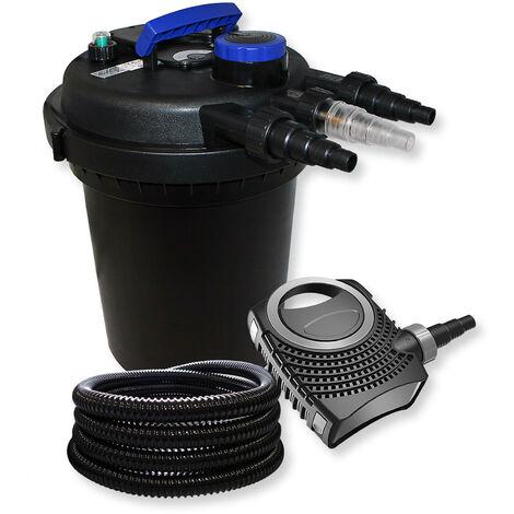 SunSun Kit filtration bassin à pression 6000l 11W UVC Stérilisateur NEO8000 70W Pompe 25m Tuyau