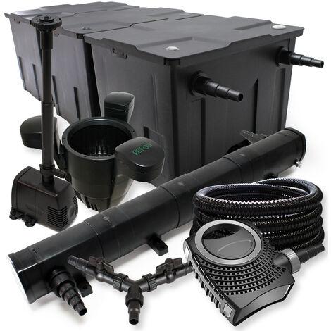 SunSun Kit filtration de bassin 90000l 72W Stérilisateur NEO8000 70W Pompe 25m Tuyau Skimmer Fontaine