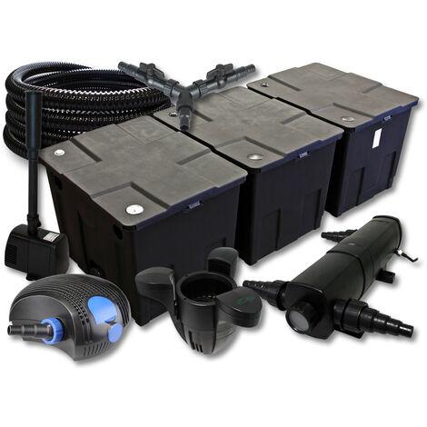SunSun Kit filtration de bassin 90000l avec 24W Stérilisateur 100W Pompe 25m Tuyau Skimmer Fontaine