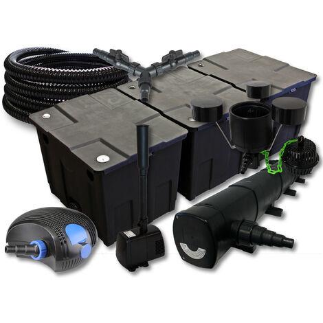 SunSun Kit filtration de bassin 90000l avec 72W Stérilisateur 100W Pompe 25m Tuyau Skimmer Fontaine