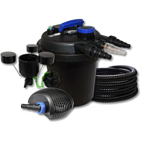 SunSun Kit filtration de bassin à pression 6000l avec 11W UVC 20W Pompe 25m Tuyau Skimmer CSP-250