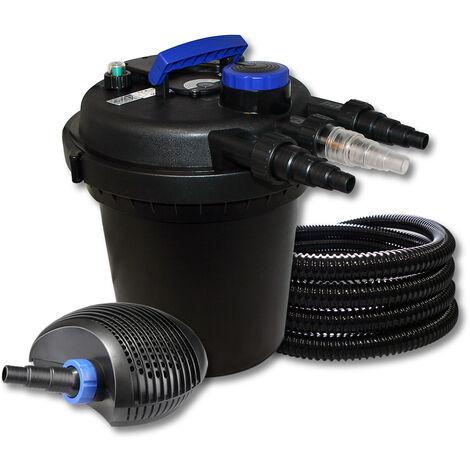SunSun Kit filtration de bassin à pression 6000l avec 11W UVC Stérilisateur 10W éco Pompe 25m Tuyau