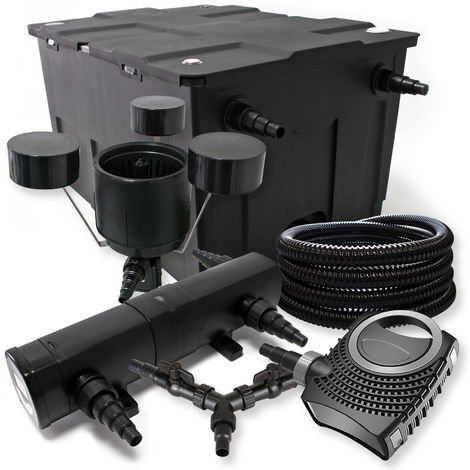 SunSun Kit Filtro estanque 60000l 18W Clarificador neo1000080W bomba 25m Manguera Skimmer jardin