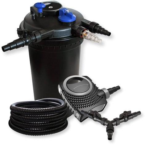 SunSun set filtro presión estanques 30000L clarificador UVC 18W bomba NEO10000 con tubo 25m jardín