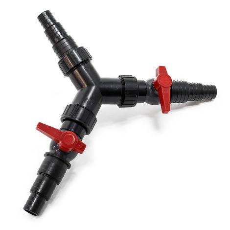 "SunSun Y-distributeur25/32/38mm Tuyau bassin (1""/1 1/4""/1 1/2"") valve réglage"