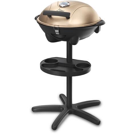 SUNTEC Barbecue sur pied electrique BBQ-9479 [bonnet détachable avec indication de la température, tableau intégré, plaque à griller 46x35 cm, pied avec roues, max. 2400 W]