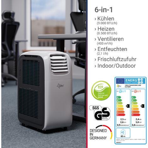 SUNTEC Climatiseur Local Mobile Reversible Transform 9.000 Eco R290 [6 en 1: Refroidissement, Chauffage, ventilateur, Déshumidificateur (2,5 kW) ~90 m³/ 38 m² (9.000 BTU) [Classe énergétique A]