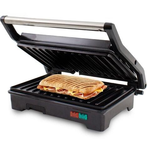 SUNTEC Paninimaker KGR-8373 COMPACT [idéal pour les paninis, sandwichs, etc. préparation pauvre en calorie sans ajout de graisse, peut être utilisé replié/déplié, max. 750 W]
