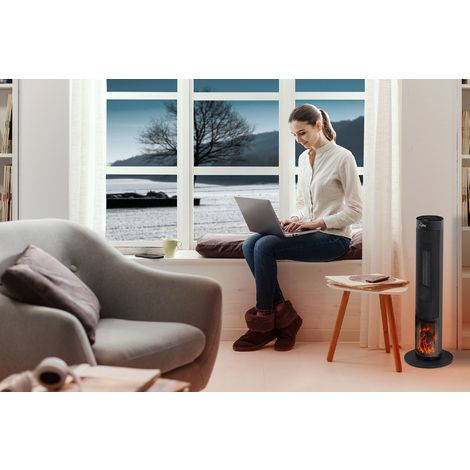 SUNTEC Radiateur Soufflant HEAT PTC 2000 FLAME [Pour des pièces jusqu'à 60 m³ (~25 m²), Ambiance Relaxante Avec Effet Feu De Cheminée