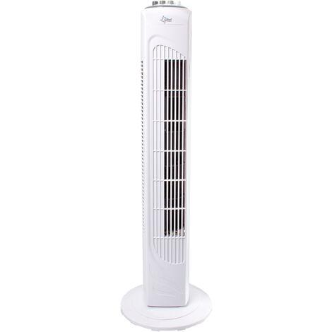 Suntec Ventilateur Colonne CoolBreeze 7400 TV Tour de Ventilation, 74 cm, oscillante, 3Vitesses, Minuterie (0-120 min.) Blanc ,puissance max. 45 W