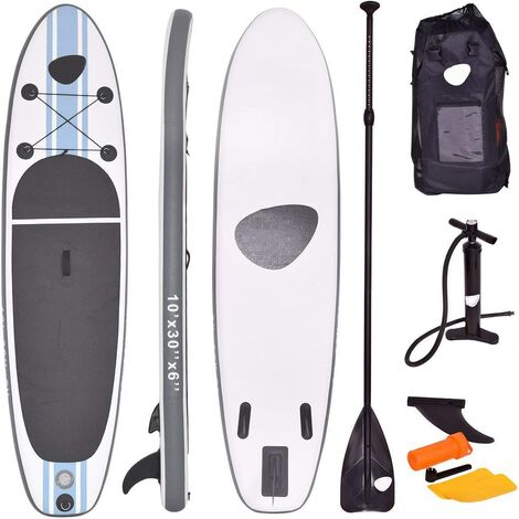 Sup Board Stand Up Inflatable Hinchable Tablas Paddle Board Tablero 305x76x15cm Blanco Gris