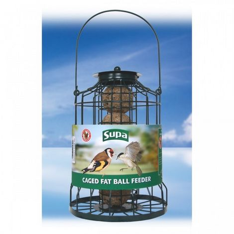 Supa Caged Fat Ball Bird Feeder (25cm) (Green)