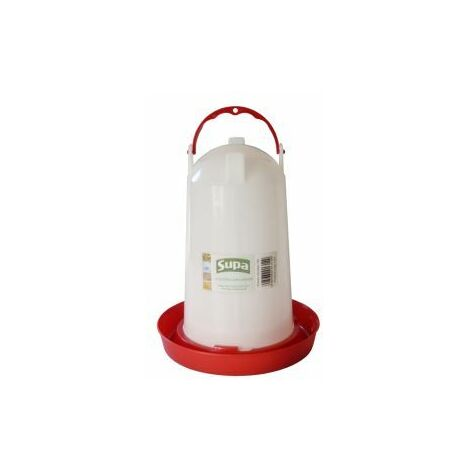 Supa Red and White Plastic Poultry Drinker 3L x 1 (4243)