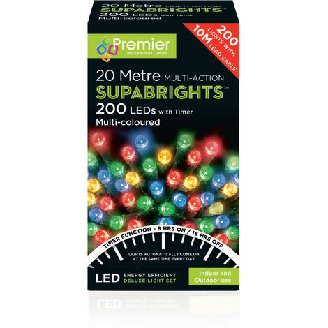 SUPABRIGHT 20M Multi Action 200 LED String Light with Timer - Multi Coloured