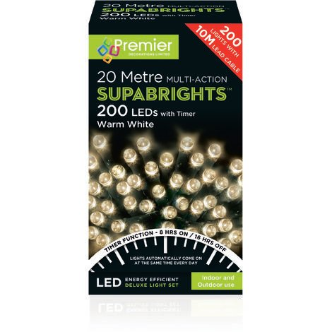 SUPABRIGHT 20M Multi Action 200 LED String Light with Timer - Warm White