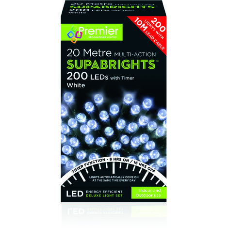 SUPABRIGHT 20M Multi Action 200 LED String Light with Timer - White