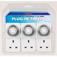 SupaLec 24 Hour Plug-in Wall Socket Timer - Pack of 3