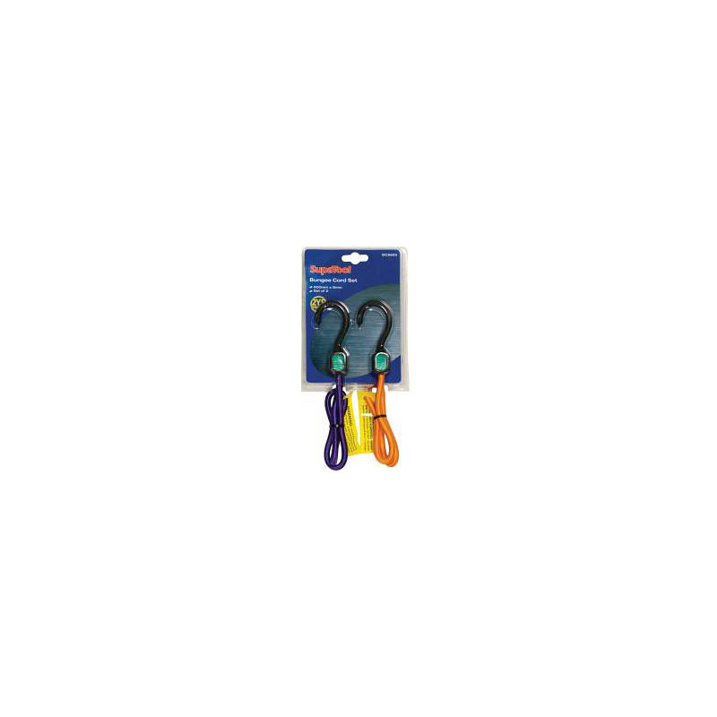 Supatool Plastic 600mm x 8mm Bungee Cord Set With Hooks